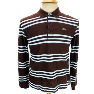 Lacoste Long Sleeve Polo Shirt Brown Blue Stripe